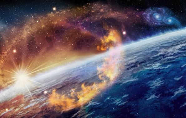 Картинка солнце, космос, фантастика, арт, звёзда, Nina Vels, Cosmic fire