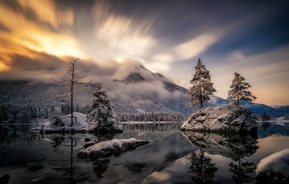 Картинка зима, небо, пейзаж, горы, природа, озеро, красота
