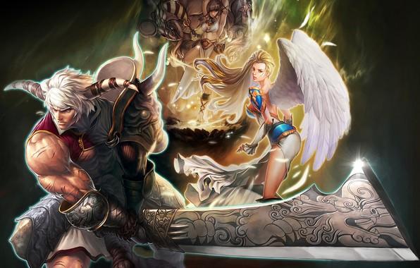 Картинка девушки, меч, воин, рога, мужчина, Maestia