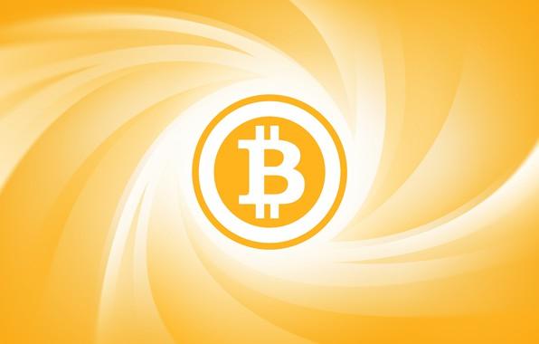 Картинка жёлтый, лого, валюта, fon, bitcoin, биткоин