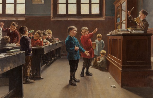 Картинка французский живописец, French painter, oil on canvas, Шарль Бертран Дентрейге, Concert in the Classroom, Концерт …