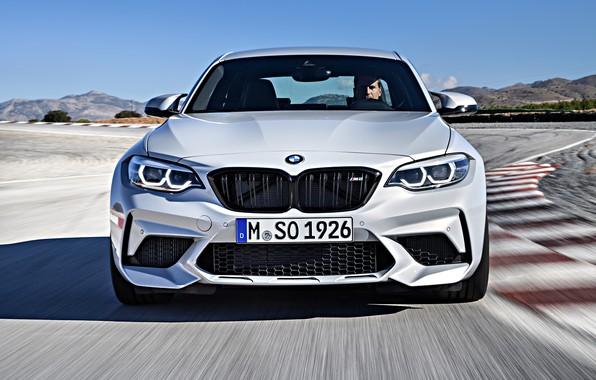Картинка движение, купе, трасса, BMW, вид спереди, 2018, F87, M2, M2 Competition