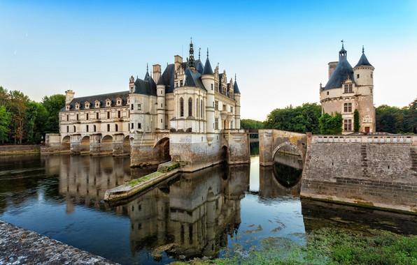 Картинка небо, деревья, мост, пруд, замок, Франция, ров, Chenonceau