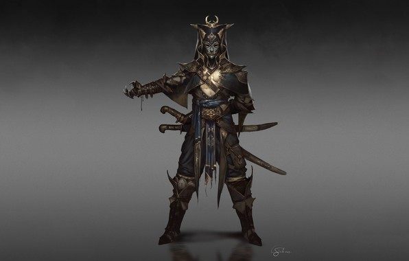Картинка Fantasy, Art, Warrior, Minimalism, Sword, Soldier, Mask, Characters, Armor, Swords, Ottoman, Gianluca Rolli, Ottoman Janissary