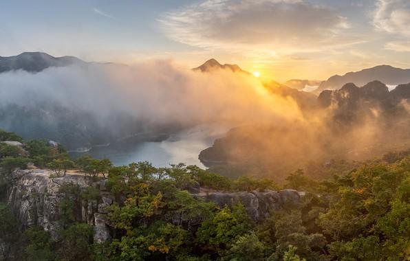 Картинка осень, горы, туман, озеро, South Korea, Южная Корея, Chungjuho Lake