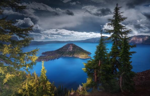 Картинка озеро, США, штат Орегон, Крейтер, кратерное озеро