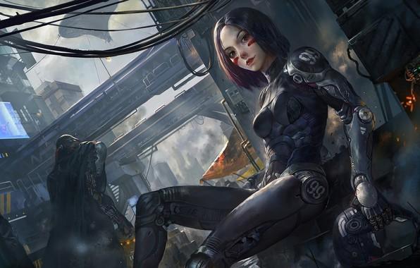 Картинка робот, арт, киборг, robot, киберпанк, cyberpunk, cyborg, futuristic, Alita: Battle Angel, Alita