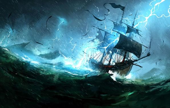 Картинка Океан, Море, Молния, Корабль, Шторм, Concept Art, Dominik Mayer, Environments, The Whaler, Storytelling, by Dominik …