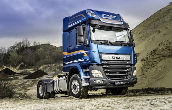 Картинка песок, синий, грузовик, DAF, седельный тягач, ДАФ, DAF CF, CF, DAF CF 480, двухосный