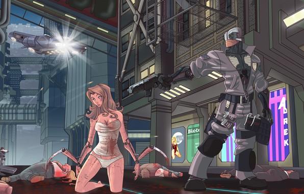 Картинка Девушка, Рисунок, Город, Игра, Оружие, Арт, CD Projekt RED, Cyberpunk 2077, Киберпанк, Cyberpunk, Киберпанк 2077, …