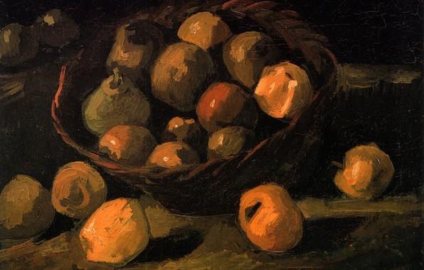 Картинка корзина, яблоки, груши, Vincent van Gogh, Basket of Apples