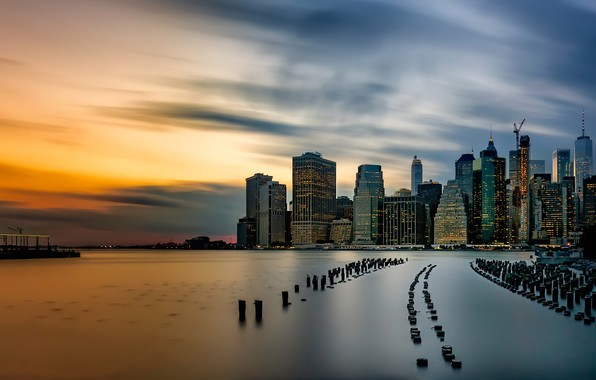 Картинка sunset, Brooklyn, Manhattan, old pier