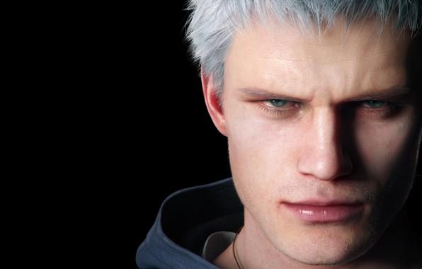 Картинка глаза, взгляд, лицо, игра, нос, губы, капюшон, щетина, персонаж, Nero, Devil may cry 5, серьёзный, …