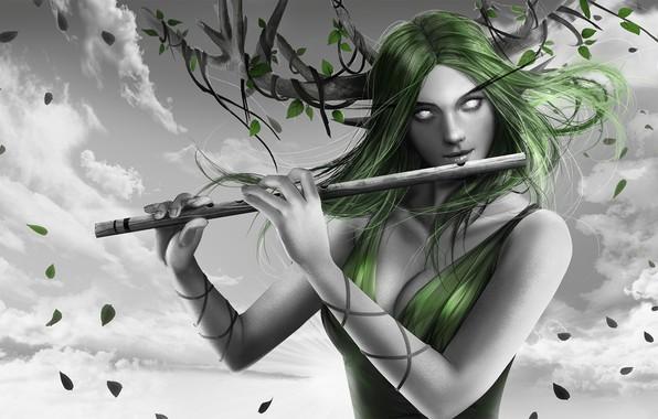 Картинка взгляд, девушка, ветки, рога, флейта