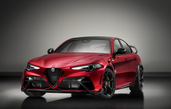 Картинка серый, фон, Alfa Romeo, Giulia, GTAm, 2020