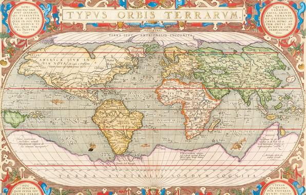Картинка World Map, Карта Мира, old maps, Antwerpen 1603, Abraham Ortelius, Авраам Ортелий, Антверпен 1603, Hand-coloured …