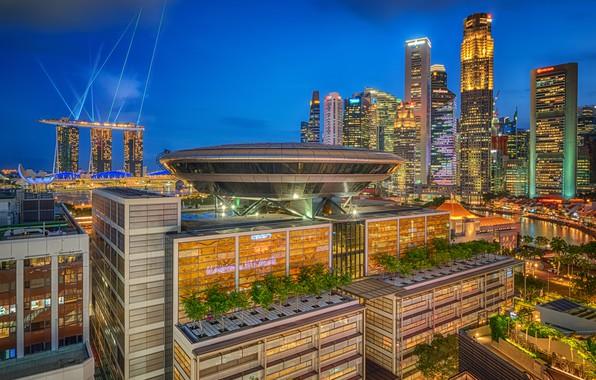 Картинка здания, дома, Сингапур, ночной город, небоскрёбы, Singapore
