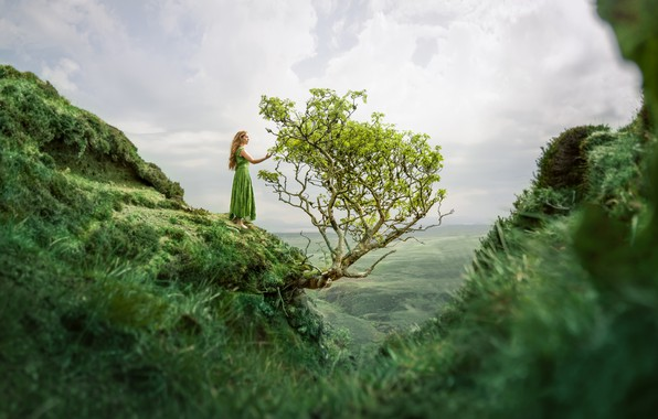Картинка девушка, дерево, гора