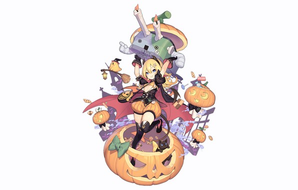 Картинка girl, sexy, halloween, long hair, anime, beautiful, Abercrombie, blonde, attractive, handsome, Azur Lane