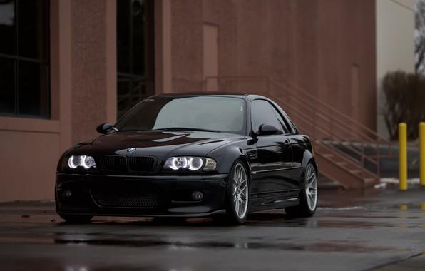 Картинка BMW, Black, Water, E46, Puddle, Angel Eye