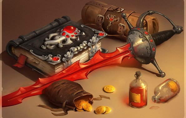 Картинка оружие, золото, меч, фэнтези, арт, книга, монеты, smirnovschool, Nick Serpilov, Blood book