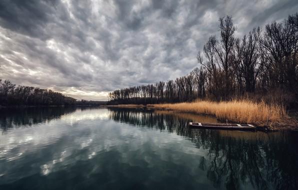 Картинка природа, река, лодки