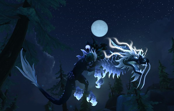 Картинка WoW, Mount, Mist of Pandaria, World of WarCraft, Heavenly Onyx Cloud Serpent, Reins of the …