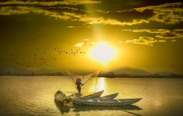 Картинка солнце, облака, свет, закат, горы, птицы, сети, рендеринг, рыбалка, стая, лодки, шляпа, Китай, Азия, водоем, …