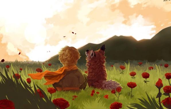 Картинка fox, field, landscape, art, flowers, mountains, painting, child
