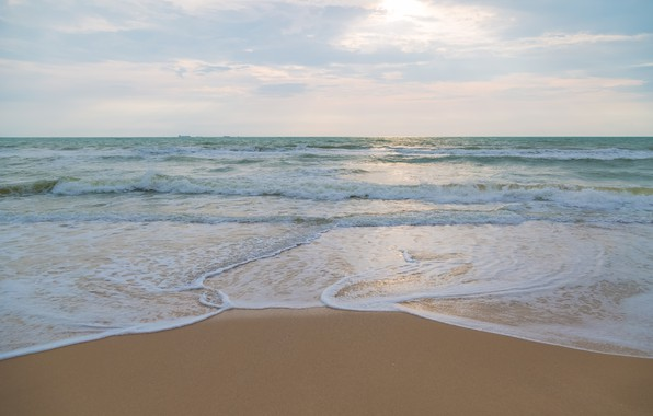 Картинка песок, море, волны, пляж, лето, небо, берег, summer, beach, sea, blue, seascape, sand, wave