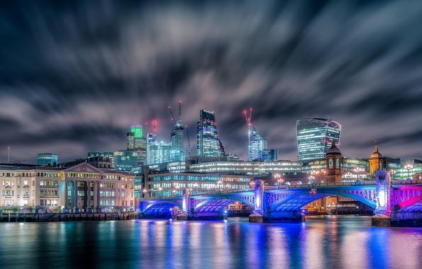 Картинка ночь, город, огни, Лондон