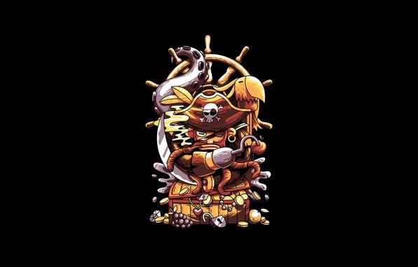 Картинка Fantasy, Art, Vector, Diamond, Background, Parrot, Illustration, Octopus, Minimalism, Jewel, Pirate, Case, Angga Tantama, Gold …