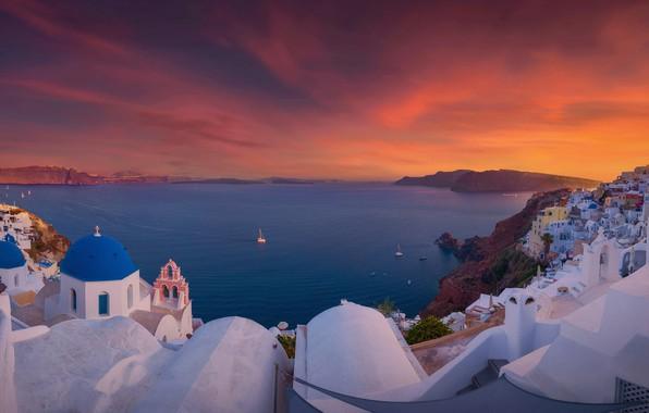 Картинка море, закат, здания, дома, Санторини, Греция, церковь, Santorini, Oia, Greece, Эгейское море, Aegean Sea