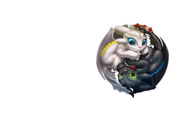 Картинка минимализм, фэнтези, беззубик, детская, ночная фурия, инь янь, кодомо, дневная фурия, как приучит дракона 3