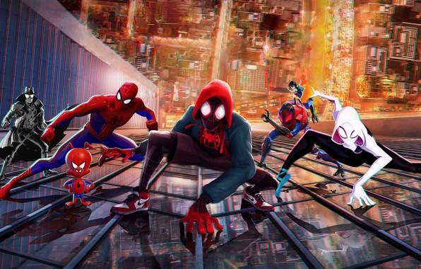 Картинка город, фантастика, здание, мультфильм, высота, арт, персонажи, Человек-паук: Через вселенные, Spider-Man: Into the Spider-Verse