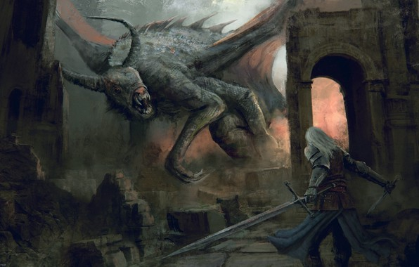 Картинка оружие, монстр, воин, фэнтези, арт, руины, темное фэнтези