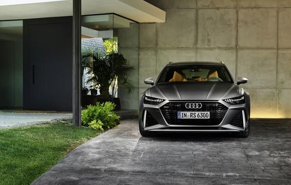 Картинка Audi, у стены, универсал, RS 6, 2020, 2019, тёмно-серый, V8 Twin-Turbo, RS6 Avant