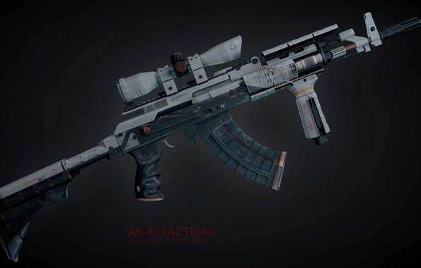Картинка рендеринг, оружие, тюнинг, gun, weapon, render, custom, Калашников, штурмовая винтовка, assault Rifle, 7.62, Kalashnikov, акм, …