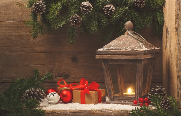 Картинка снег, украшения, шары, Новый Год, Рождество, фонарь, подарки, Christmas, balls, wood, snow, New Year, gift, …