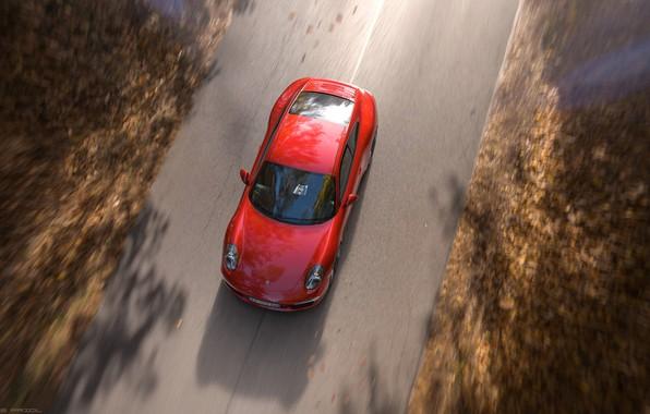 Обои Красный, Авто, Дорога, Porsche, Машина, Red, Carrera, Rendering, Спорткар, Porsche 911 Carrera, Transport & Vehicles, …