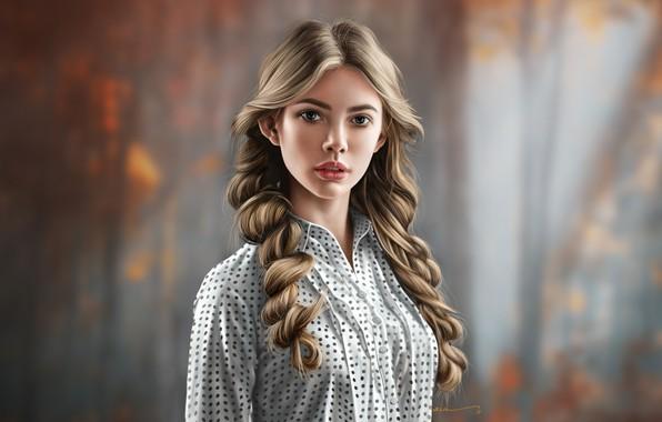 Картинка Девушка, Взгляд, Стиль, Лицо, Girl, Beautiful, Art, Style, Красавица, Beauty, Красивая, Face, Локоны, Jinsung Lim, ...