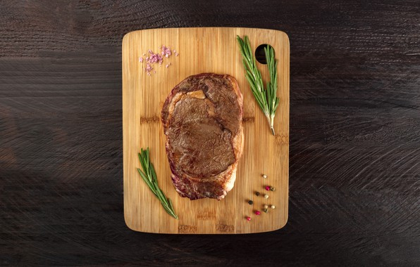Картинка table, meat, cooked, rosemary