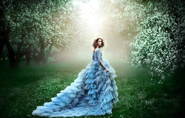 Картинка зелень, трава, девушка, деревья, цветы, ветки, природа, поза, туман, газон, голубое, поляна, весна, утро, сад, …