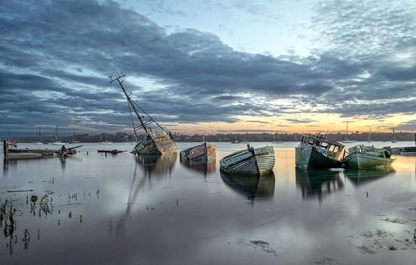 Картинка природа, река, берег, лодки