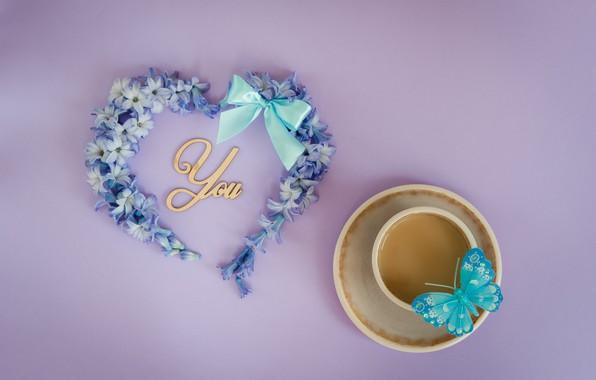 Картинка любовь, цветы, бабочка, сердце, love, heart, blue, butterfly, flowers, romantic, незабудки, coffee cup, чашка кофе, …