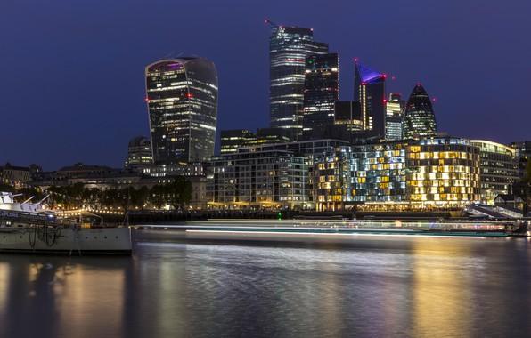 Картинка фото, Англия, Лондон, Дома, Вечер, Причал, Город, Река