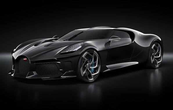 Картинка машина, фары, Bugatti, диски, стильный, гиперкар, La Voiture Noire