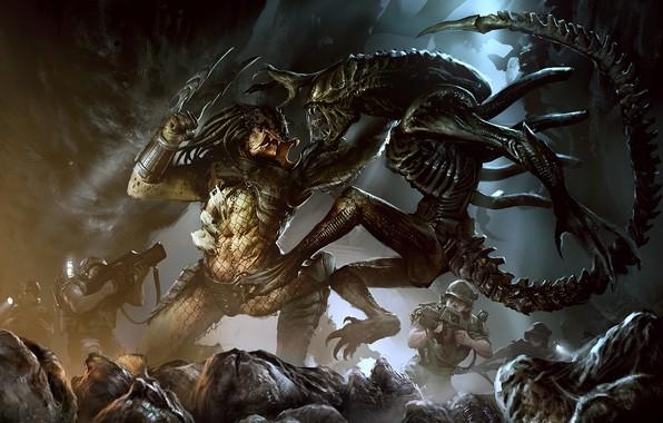 Картинка Чужой, Хищник, Art, Predator, Alien vs Predator, Darek Zabrocki, Чужой против Хищника, AVP: COVER, by …