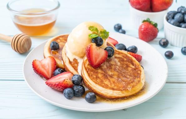 Картинка ягоды, черника, клубника, мед, honey, блины, strawberry, berries, pancakes, панкейки