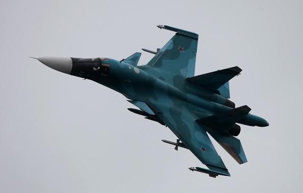 Картинка полёт, российский, истребитель-бомбардировщик, Fullback, Су-34, ОКБ Сухого, сверхзвуковой, многофункциональный, ВКС России, Su-34, поколение 4++